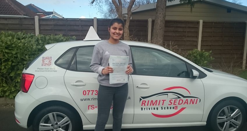 Congratulations To Saloni Tyagi On Passing Her Driving Exam With 2